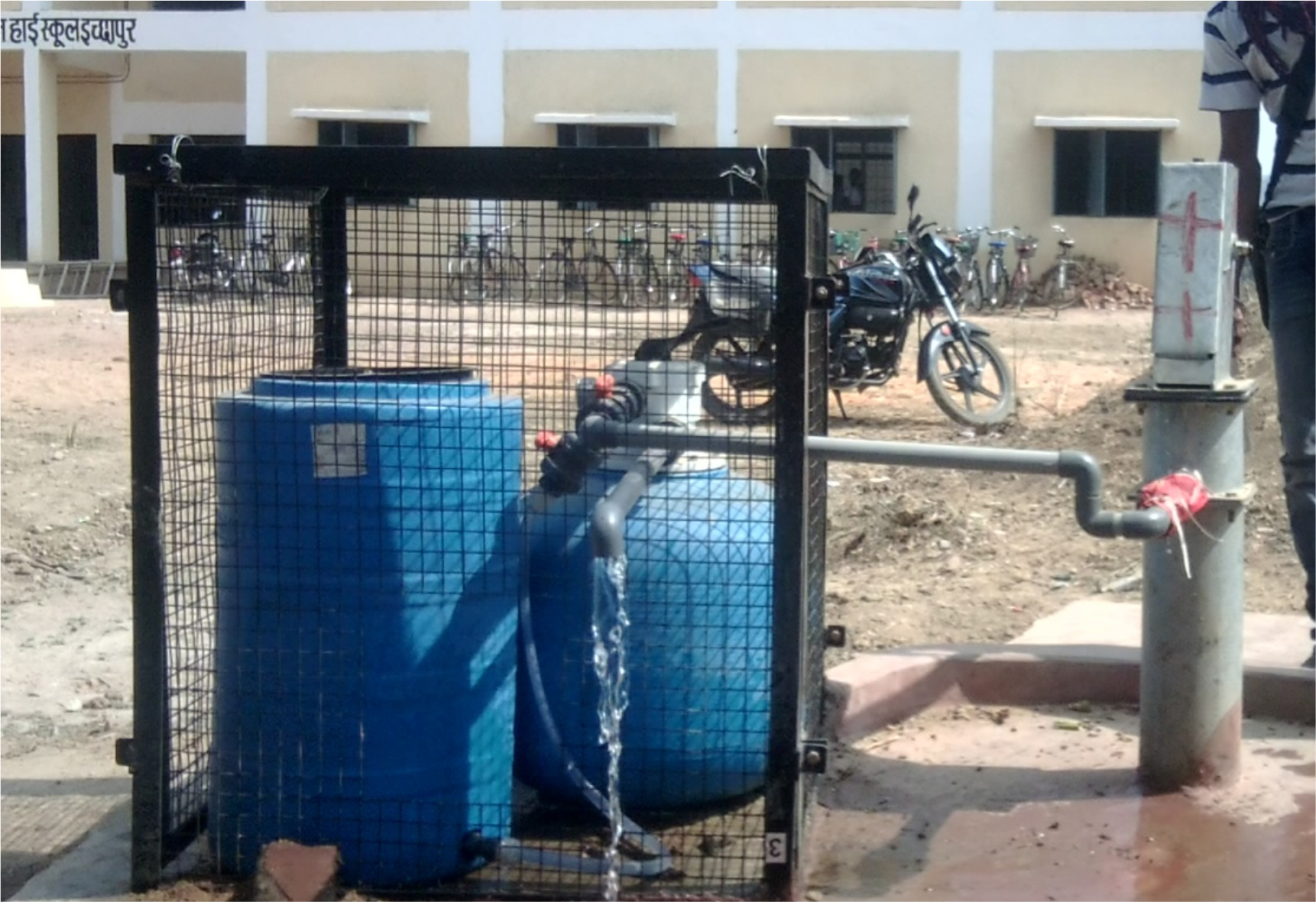 De-Fluoridation treatment plant attached to Hand pumps tube wells